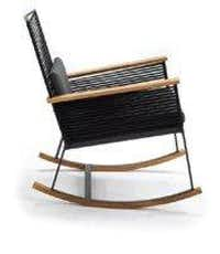 Kettal Landscape Rocking Chair, aluminum lacquered frame with polyester thread cords and teak rockers, from $1,785, Smink, 214-350-0542, sminkinc.com