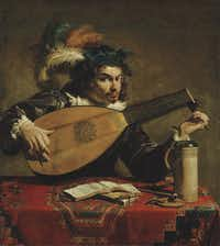 Theodoor Rombouts A Lute Player, c. 1620,oil on canvas by Caravaggio
