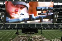 An image of former Navy SEAL Chris Kyle was part of the Memorial Service on Monday, February 11, 2013 at Cowboys Stadium in Arlington, Texas.