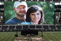 An image of former Navy SEAL Chris Kyle with his wife Taya that was part of the Memorial Service on Monday, February 11, 2013 at Cowboys Stadium in Arlington, Texas.