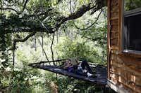 Owner Mike Snyder reads a book to his daughter, Savannah Snyder while relaxing on a platform off the Majestic Oak Treehouse at Savannah Meadows, an eco-tourism lavender farm.Sonya Hebert-Schwartz - Staff Photographer