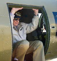 """""""First time back in one in 68 years,"""" said John """"Lucky"""" Luckadoo, climbing out of a B-17 Flying Fortress on Wednesday at the Frontiers of Flight Museum in Dallas."""