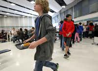 Students headed to lunch tables filled with their friends at Staley Middle School in Frisco.