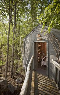 Nestled in the treetops, overlooking the beach forest, is the Tree Spa at Hidden Pond at Hidden Pond in Kennebunkport, Maine.