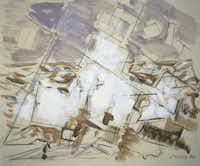 Movement in White, Umber, and Cobalt Green by John Marin:  1950; oil on canvas