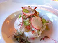 Fresh burrato with lobster tartare, by Chef Eduardo Garcia of Maximo Bistrot Local in Colonia Roma, Mexico City.