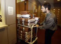 Copies of the Texas budget were delivered to the mailroom at the Capitol.