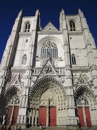 The foundation stone of Nantes Cathedral of St. Peter and St. Paul in Nantes, France, were first set in 1434, with construction to last over four and a half centuries until completion in 1893.