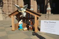 Ken Seipel set up a Nativity scene last week in preparation for Friday and the start of Interlochen's annual lights show.