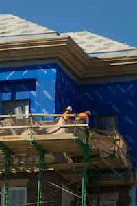 Workers are stlll finishing the TRT Holdings building at the Old Parkland campus.