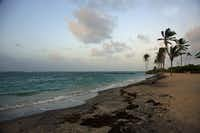 Sunset on the beach at Nisbet Plantation Beach Club. Set on 30 lush tropical acres on Nevis, sister island to St. Kitts, Nisbet Plantation is located directly on the beach.