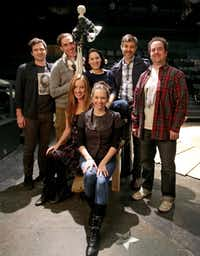 """The team presenting the world premiere of """"On the Eve"""" at Theatre Three includes (back row, from left) Seth Magill, Gregory Lush, Jeffrey Schmidt and Michael Federico and  (middle, clockwise from left) Shawn Magill, Martha Harms and Jenny Ledel."""