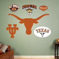 Officially licensed NCAA sports graphics rejuvenate a boring dorm room. Collegiate products range from life-size wall graphics and murals to logos and laptop skins. Texas Longhorn logo assortment is $39.99. Additional items are $14.99 to $99.99 at fathead.com.fathead.com -  fathead.com