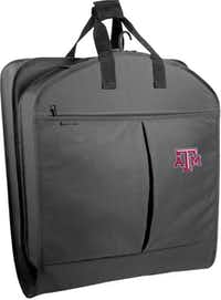 Students traveling to far-off universities will journey in style with a garment bag showing their collegiate loyalty. Constructed of 600-denier, water-repellent polyester thread, the bag holds six hangers and has two pockets for shoes or accessories. Offered in a choice of 24 college logos, the WallyBags collegiate garment bag is $58 at jcpenney.com.J.C. Penney -  J.C. Penney