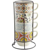 When space is limited, a set of coffee mugs is kept neatly stacked inside a vertical, space-saving iron rack. The colorful stoneware cups are microwavable. Suzani 5-piece mug set is $19.95 at local Pier 1 stores and pier1.com.Pier 1 Imports -  Pier 1 Imports