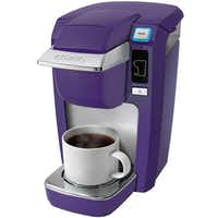A handy single-serve brewer could help those all-night study sessions. The Keurig K10 Mini brews a 6-, 8- or 10-ounce cup of hot water, tea or coffee in under two minutes and turns off automatically after each brew. Included are a 6-count K-Cup coffee and tea variety pack and rotating carousel. $99.99 on sale at area J.C.Penney stores and jcpenney.com.020614