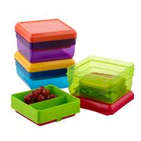 Fresh choice Moms can prevent food from becoming squashed and also make sure healthy meals stay cool with the Lunch Pak Carrier. Three divided sections and a removable ice pack keep food safe throughout the day. Available in an assortment of colors. $8.99 each at The Container Store and containerstore.comThe Container Store  -  The Container Store