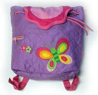 A lightweight, quilted butterfly backpack is perfect for smaller children. The roomy bag has a drawstring closure, side pocket with zipper and fabric straps with buttons to adjust for size. $24.95 at Texas Discovery Gardens, DallasScott Owen  -  Texas Discovery Gardens
