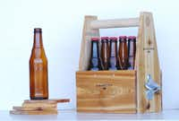 Handcrafted of red cedar, a handy six-pack beer caddy with a side-mounted bottle opener and coasters will ensure a favorite brew is at hand. $48 at Pebble+Pine, Dallas, and pebbleandpine.com.