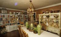 In the dining room, Holley's collections of dishes and other items are on display.