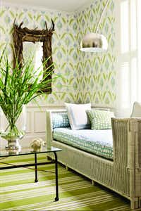 Thibaut wallpaper's Island Ikat print from the Avalon Collection is carried at Texas Paint & Wallpaper, Rutherford's and Phelan's, all in Dallas.