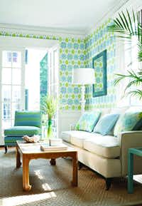 Thibault wallpaper's Bimini Ikat print from the Biscayne Collection is carried at Phelan's, Dallas; Rutherford's, Dallas; and Texas Paint & Wallpaper, with multiple Dallas-area locations.