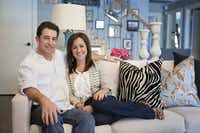 Chris Hewett and Emily Sheehan Hewett in the East Dallas home she helped him decorate when he was a bachelor. Now, they share the house and are finding ways to blend her love of chic, glam interiors with his preference for heavy, rustic decor.