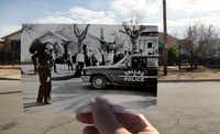 A print of the scene where Officer J.D. Tippit was shot by Lee Harvey Oswald on Nov. 22, 1963, is juxtaposed with the current-day scene along Tenth Street just east of Patton Avenue in Oak Cliff. The 1963 print was taken by Darryl Heikes of the Dallas Times Herald.