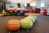 Ottomans and other seating are part of the new University Park Library.