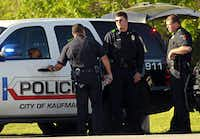 Kaufman police officers manned a roadblock Friday as officials searched the home of Eric Williams, a former justice of the peace.