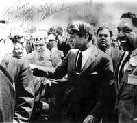 Pancho Medrano (right), a United Auto Workers of America organizer,  also drummed up support for Robert Kennedy.