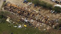 An aerial image shot Thursday shows damage to an apartment complex caused by the explosion at the nearby  West Fertilizer Co.