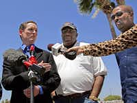 (From left) Dallas County Judge Clay Jenkins, State Sen. Royce West and Rev. Frederick D. Haynes III hold a press conference Thursday, July 2, 2014 in McAllen, Texas. The group visited a US Border Patrol detention center filled with migrant children, some 2,000 of whom may had to the Dallas area.G.J. McCarthy  -  Staff Photographer
