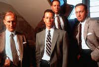 From left to right; Captain Dudley Smith, played by James Cromwell, Detectives Ed Exley, played by Guy Pearce, Bud White, played by Russell Crowe and celebrity cop Jack Vincennes, played by Kevin Spacey, appear in the crime thriller 'L.A. Confidential.' 'L.A. Confidential' was nominated for Best Picture in the 70th Annual Academy Awards, annnounced Tuesday, Feb. 10, 1998 in Beverly Hills, Calif.