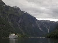 A cruise ship at Gudvangen, Norway.