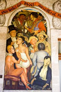 A mural by famed Mexican artist Diego Rivera decorates the Secretary of Public Education Building.