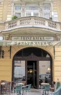 The canopy of the Café Franz Kafka on Široká Street in Prague's Josefov quarter.  Kafka, himself, author of The Trial and other existentialist works, was born near the Church of St. Nicholas in the Old Town.