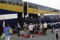 Passengers boarding one of the Rocky Mountaineer's bi-level dome cars just before departing from Vancouver.