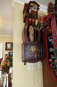 A handmade wooden cuckoo clock was handpainted by Geisler's sister.