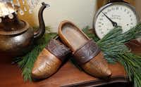 A European style wooden shoe, actually worn as clothing, in the collection of Sheri Geisler of Double Oak.