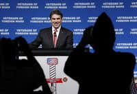 """Rick Perry talked about his father at an August convention: """"He served as a tail gunner in World War II, taking part in 35 missions over war-torn Europe."""""""