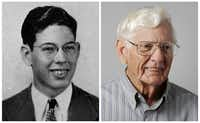 Charles Posey in his 1943 senior class picture and today.