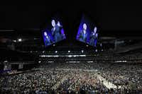 "Thousands fill the seats and the floor area of Reliant Stadium during ""The Response""  event Saturday in Houston."