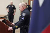 Sgt. Brad Merritt spoke at a news conference at the Frisco Police Department on Thursday.