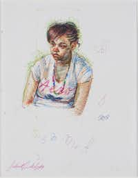 Sedrick Huckaby, Princess, 2012, colored pen on paper, 11 x 8 1/2 inches, courtesy of Valley House Gallery & Sculpture Garden