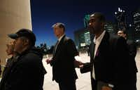 Mayor Mike Rawlings attended the candlelight vigil in January at Dallas City Hall Plaza in memory of loved ones lost to domestic abuse. He has said Karen Cox Smith's slaying led to his drive to end domestic violence.