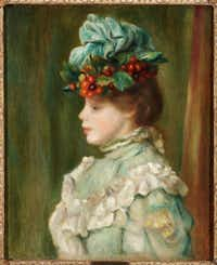 """Pierre Auguste Renoir, """"Girl with Hat with Cherries,"""" 1880. Oil on canvas.Courtesy  -  House of Alba Collection"""