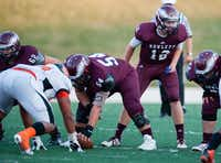 Rowlett gets ready for a play against Rockwall High School in a Sept. 5 game. Rockwall would later defeat Rowlett 66 to 34.