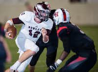 Rowlett sophomore quarterback Logan Bonner dodges several Lake Highlands players during last week's 30-22 victory. Bonner threw for 292 yards and three touchdowns in the win. Rowlett plays Rockwall-Heath at 7:30 p.m. Friday at Homer B. Johnson Stadium in Garland.