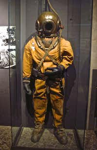 The Vasa Museum in Stockholm, Sweden devotes part of its display space to the story of the ship's recovery. This suit was worn by a diver who worked to raise the ship in 1961.